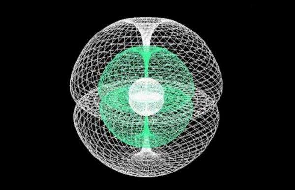 A estrutura do toroide acoplado sugerida pelo Dr. Dirk Meijer para o campo mental conectado ao cérebro (Cortesia do Dr. Dirk Meijer)