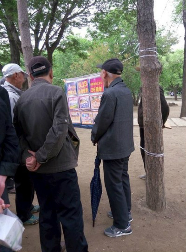 Transeuntes leem cartazes colocados por praticantes em um parque na cidade de Shenyang, província de Liaoning (Minghui.org)
