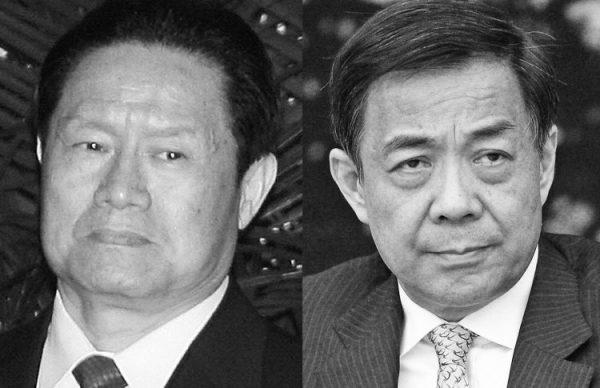 Zhou Yongkang (esq.), secretário do Comitê de Assuntos Políticos e Legais do Partido Comunista Chinês em 2007; e Bo Xilai em março de 2011 (Da esquerda para a direita: Te Eng Koon/AFP/Getty Images, Feng Li/Getty Images)