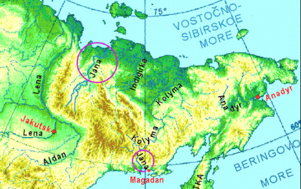 Rio Yana ao norte e rio Kolyma no sudeste da Sibéria, na Rússia (Wikimedia)