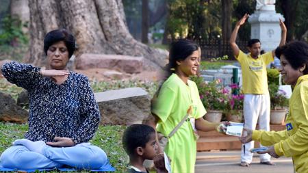 Mãe de 59 anos em uma 'missão' para espalhar a bondade da meditação Falun Dafa por toda a Índia