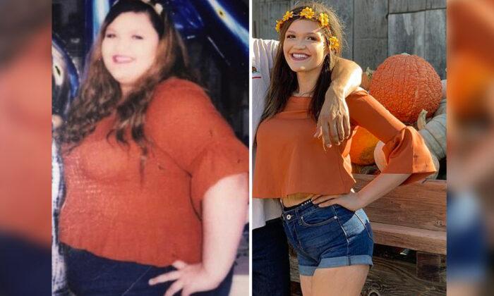 Mulher viciada em fast food recria foto após perder mais de 196 libras