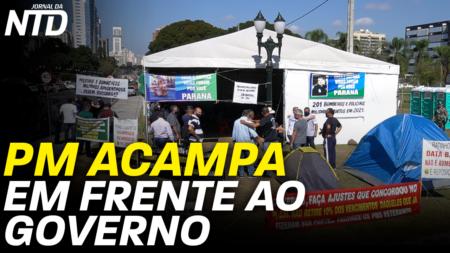 Policiais Militares acampados em breve frente ao Palácio Iguaçu