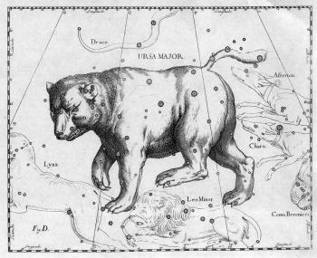 A map of the Ursa Major (Great Bear) as seen in the star atlas Uranographia by Polish astronomer Johannes Hevelius. (WikiMedia Commons)