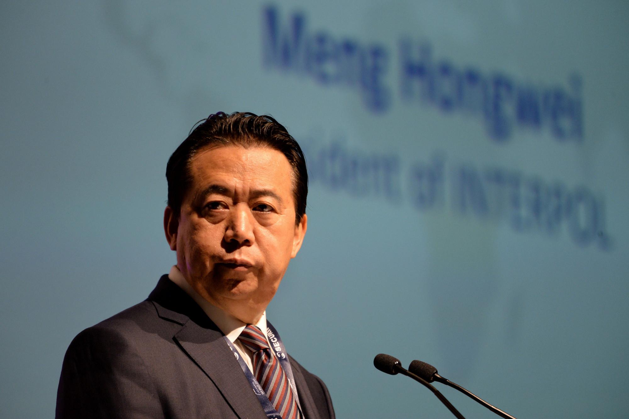 O ex-presidente da Interpol, Meng Hongwei, discursa na abertura do Congresso Mundial da Interpol em Cingapura, em 4 de julho de 2017 (Roslan Rahman / AFP / Getty Images)