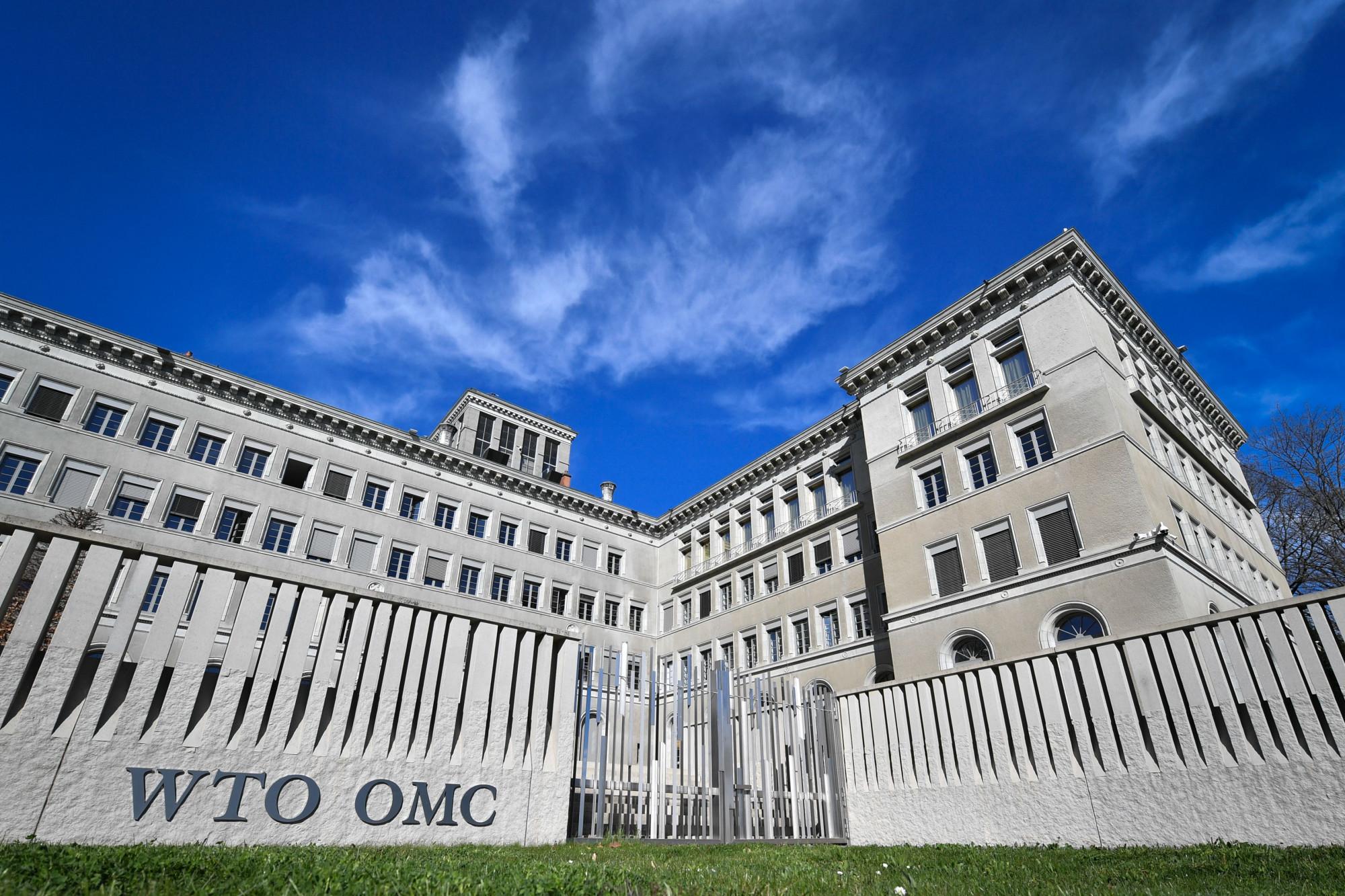 A sede da Organização Mundial do Comércio (OMC), em Genebra, em 12 de abril de 2018 (Fabrice Coffrini / AFP / Getty Images)