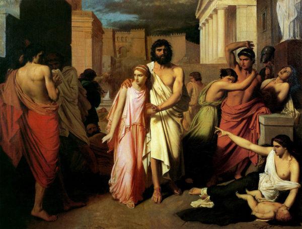 """O rei Édipo, a causa da praga, é evitado por seu povo. """"A Praga de Tebas"""", 1842, de Charles François Jalabert. Museu de Belas Artes de Marselha (Domínio público)"""