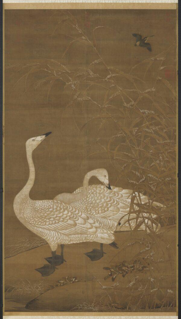Um par de gansos se refugia nos juncos durante o mau tempo. No final da dinastia Song, este tipo de pintura simbolizava o casal que sofria juntos e continuava a amar um ao outro (Cortesia do Museu do Palácio Nacional)